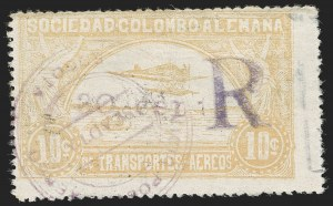 "Sale Number 1213, Lot Number 666, 1921-23 Provisional Surcharges (by Colomphil No.)COLOMBIA, 1921, ""30 cent."" on 10c Yellow, Air Post Registration (Colomphil 28; Scott C37 var), COLOMBIA, 1921, ""30 cent."" on 10c Yellow, Air Post Registration (Colomphil 28; Scott C37 var)"