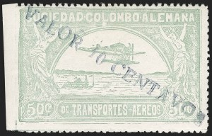 "Sale Number 1213, Lot Number 667, 1921-23 Provisional Surcharges (by Colomphil No.)COLOMBIA, 1921, ""Valor 10 Centavos"" on 50c Pale Green, Air Post Surcharge (Colomphil 29; Scott C17), COLOMBIA, 1921, ""Valor 10 Centavos"" on 50c Pale Green, Air Post Surcharge (Colomphil 29; Scott C17)"