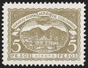 Sale Number 1213, Lot Number 671, Later IssuesCOLOMBIA, 1921, 5c-5p Third SCADTA Issue (C25-C35), COLOMBIA, 1921, 5c-5p Third SCADTA Issue (C25-C35)