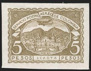 Sale Number 1213, Lot Number 672, Later IssuesCOLOMBIA, 1921, 5c-5p Third Issue Air Post, Imperforate (C25-C35 vars; Sanabria 47a-57a), COLOMBIA, 1921, 5c-5p Third Issue Air Post, Imperforate (C25-C35 vars; Sanabria 47a-57a)