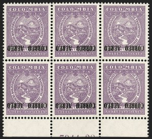 Sale Number 1213, Lot Number 678, Later IssuesCOLOMBIA, 1932, 40c Dull Violet, Air Post, Inverted Overprint (C88 var; Sanabria 131a), COLOMBIA, 1932, 40c Dull Violet, Air Post, Inverted Overprint (C88 var; Sanabria 131a)