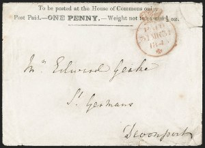 Sale Number 1214, Lot Number 1029, Great Britain - Parliamentary and Mulready CoversGREAT BRITAIN, 1840, House of Commons, 1p Black on White Entire (SG Specialised PE9), GREAT BRITAIN, 1840, House of Commons, 1p Black on White Entire (SG Specialised PE9)