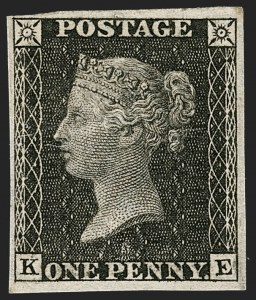 "Sale Number 1214, Lot Number 1042, Great Britain - Line-Engraved Essays, Proofs, Trial Colors and ReprintsGREAT BRITAIN, 1865, 1p Black, ""Royal Reprint"", Inverted Large Crown Watermark (SG Specialised DP35a), GREAT BRITAIN, 1865, 1p Black, ""Royal Reprint"", Inverted Large Crown Watermark (SG Specialised DP35a)"