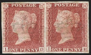 "Sale Number 1214, Lot Number 1043, Great Britain - Line-Engraved Essays, Proofs, Trial Colors and ReprintsGREAT BRITAIN, 1865, 1p Carmine Rose, ""Royal Reprint"", Large Crown Watermark (SG Specialised DP35b), GREAT BRITAIN, 1865, 1p Carmine Rose, ""Royal Reprint"", Large Crown Watermark (SG Specialised DP35b)"