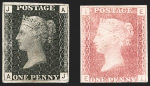 Sale Number 1214, Lot Number 1044, Great Britain - Line-Engraved Essays, Proofs, Trial Colors and ReprintsGREAT BRITAIN, 1867, 1p Black, 1p Rose, Paris Exhibition Proofs (SG Specialised DP38), GREAT BRITAIN, 1867, 1p Black, 1p Rose, Paris Exhibition Proofs (SG Specialised DP38)