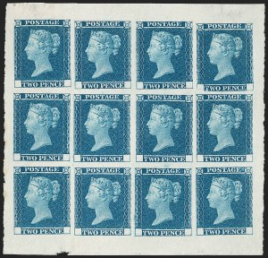Sale Number 1214, Lot Number 1045, Great Britain - Line-Engraved Essays, Proofs, Trial Colors and ReprintsGREAT BRITAIN, 1841, 2p Deep Blue, Small Trial of Twopence Plate (SG Specialised DP43), GREAT BRITAIN, 1841, 2p Deep Blue, Small Trial of Twopence Plate (SG Specialised DP43)