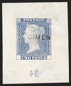 Sale Number 1214, Lot Number 1048, Great Britain - Line-Engraved Essays, Proofs, Trial Colors and ReprintsGREAT BRITAIN, 1878, 2p Die Proof Trials, Lighter and Fugitive Colours, Die II Retouched (SG Specialised DP47), GREAT BRITAIN, 1878, 2p Die Proof Trials, Lighter and Fugitive Colours, Die II Retouched (SG Specialised DP47)
