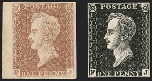 Sale Number 1214, Lot Number 1052, Great Britain - Line-Engraved Essays, Proofs, Trial Colors and ReprintsGREAT BRITAIN, 1850, 1p Black, 1p Red Brown, Prince Consort Essay (SG Specialised DP71(2), GREAT BRITAIN, 1850, 1p Black, 1p Red Brown, Prince Consort Essay (SG Specialised DP71(2)