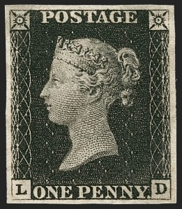 Sale Number 1214, Lot Number 1057, Great Britain - 1840 One-Penny Black, By Plate No.GREAT BRITAIN, 1840, 1p Black (1; SG 2), GREAT BRITAIN, 1840, 1p Black (1; SG 2)