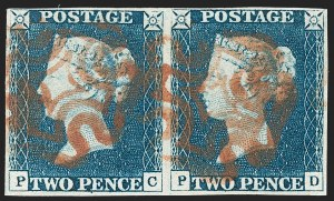 "Sale Number 1214, Lot Number 1097, Great Britain - 1840 Two-Penny Blue and One-Penny ""Black Plates""GREAT BRITAIN, 1840, 2p Blue (2; SG 5), GREAT BRITAIN, 1840, 2p Blue (2; SG 5)"