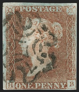 "Sale Number 1214, Lot Number 1100, Great Britain - 1840 Two-Penny Blue and One-Penny ""Black Plates""GREAT BRITAIN, 1840, 1p Red Brown, Printed From ""Black Plate"" (3 var; SG 7; SG Specialised AS57ue), GREAT BRITAIN, 1840, 1p Red Brown, Printed From ""Black Plate"" (3 var; SG 7; SG Specialised AS57ue)"