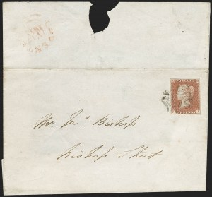 "Sale Number 1214, Lot Number 1102, Great Britain - 1840 Two-Penny Blue and One-Penny ""Black Plates""GREAT BRITAIN, 1840, 1p Red Brown, Printed From ""Black Plate"" (3 var; SG 7; SG Specialised AS57te), GREAT BRITAIN, 1840, 1p Red Brown, Printed From ""Black Plate"" (3 var; SG 7; SG Specialised AS57te)"