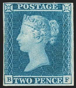 Sale Number 1214, Lot Number 1126, Great Britain - Other Victorian IssuesGREAT BRITAIN, 1841, 2p Blue (4; SG 14, SG Specialised ES11), GREAT BRITAIN, 1841, 2p Blue (4; SG 14, SG Specialised ES11)