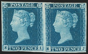 Sale Number 1214, Lot Number 1127, Great Britain - Other Victorian IssuesGREAT BRITAIN, 1841, 2p Blue (4; SG 14), GREAT BRITAIN, 1841, 2p Blue (4; SG 14)