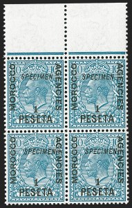 "Sale Number 1214, Lot Number 1160, British Offices AbroadGREAT BRITAIN, Offices in Morocco, 1914-18, 5c on -1/2p to 1pe on 10p King George V, ""Specimen"" Overprints (49S-54S; SG 129s-133s, 135s), GREAT BRITAIN, Offices in Morocco, 1914-18, 5c on -1/2p to 1pe on 10p King George V, ""Specimen"" Overprints (49S-54S; SG 129s-133s, 135s)"