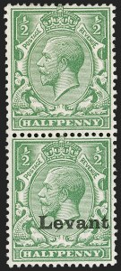 Sale Number 1214, Lot Number 1164, British Offices AbroadGREAT BRITAIN, Offices in Turkish Empire, Field Office in Salonica, 1916, -1/2p Green, Vertical Pair, One Without Overprint (SG S1b), GREAT BRITAIN, Offices in Turkish Empire, Field Office in Salonica, 1916, -1/2p Green, Vertical Pair, One Without Overprint (SG S1b)