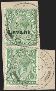 Sale Number 1214, Lot Number 1165, British Offices AbroadGREAT BRITAIN, Offices in Turkish Empire, Field Office in Salonica, 1916, -1/2p Green, Vertical Pair, One Without Overprint (SG S1b), GREAT BRITAIN, Offices in Turkish Empire, Field Office in Salonica, 1916, -1/2p Green, Vertical Pair, One Without Overprint (SG S1b)