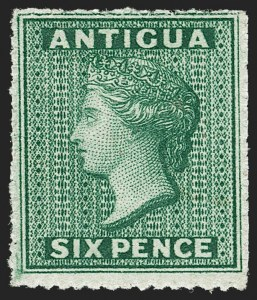 Sale Number 1214, Lot Number 1172, Anguilla thru AustraliaANTIGUA, 1863, 6p Green, Small Star Wmk., Rough Perf 14-16 (4; SG 8), ANTIGUA, 1863, 6p Green, Small Star Wmk., Rough Perf 14-16 (4; SG 8)