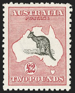 Sale Number 1214, Lot Number 1177, Anguilla thru AustraliaAUSTRALIA, 1919, £2 Crimson & Gray, Third Watermark (59a; SG 45a; BW 56b), AUSTRALIA, 1919, £2 Crimson & Gray, Third Watermark (59a; SG 45a; BW 56b)