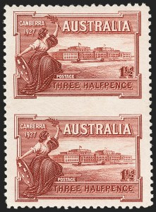Sale Number 1214, Lot Number 1178, Anguilla thru AustraliaAUSTRALIA, 1927, 1-1/2p Parliament House, Vertical Pair, Imperforate Between (94a; SG 105a; BW 132a), AUSTRALIA, 1927, 1-1/2p Parliament House, Vertical Pair, Imperforate Between (94a; SG 105a; BW 132a)