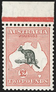 Sale Number 1214, Lot Number 1179, Anguilla thru AustraliaAUSTRALIA, 1934, £2 Dull Rose & Black, C of A Watermark (129; SG 138; BW 58), AUSTRALIA, 1934, £2 Dull Rose & Black, C of A Watermark (129; SG 138; BW 58)