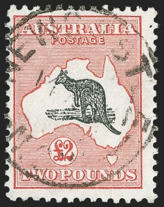 Sale Number 1214, Lot Number 1180, Anguilla thru AustraliaAUSTRALIA, 1934, £2 Dull Rose & Black, C of A Watermark (129; SG 138; BW 58), AUSTRALIA, 1934, £2 Dull Rose & Black, C of A Watermark (129; SG 138; BW 58)