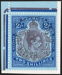 Sale Number 1214, Lot Number 1199, Bermuda thru British GuianaBERMUDA, 1943, Purple & Deep Blue on Pale Blue, Shading Omitted from Top Right Scroll (123 var; SG 116db), BERMUDA, 1943, Purple & Deep Blue on Pale Blue, Shading Omitted from Top Right Scroll (123 var; SG 116db)