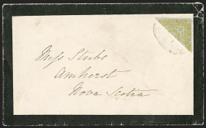 Sale Number 1214, Lot Number 1223, Canadian ProvincesNEW BRUNSWICK, 1851, 6p Olive Yellow, Diagonal Half Used as 3p (2b; SG 4b), NEW BRUNSWICK, 1851, 6p Olive Yellow, Diagonal Half Used as 3p (2b; SG 4b)
