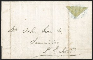 Sale Number 1214, Lot Number 1224, Canadian ProvincesNEW BRUNSWICK, 1851, 6p Olive Yellow, Diagonal Half Used as 3p (2b; SG 4b), NEW BRUNSWICK, 1851, 6p Olive Yellow, Diagonal Half Used as 3p (2b; SG 4b)