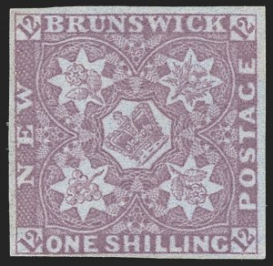 Sale Number 1214, Lot Number 1225, Canadian ProvincesNEW BRUNSWICK, 1851, 1sh Bright Red Violet (3; SG 5), NEW BRUNSWICK, 1851, 1sh Bright Red Violet (3; SG 5)