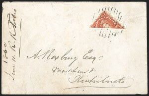 Sale Number 1214, Lot Number 1227, Canadian ProvincesNEW BRUNSWICK, 1860, 10c Vermilion, Half Used as 5c (9a; SG 17a), NEW BRUNSWICK, 1860, 10c Vermilion, Half Used as 5c (9a; SG 17a)