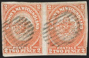 Sale Number 1214, Lot Number 1234, Canadian ProvincesNEWFOUNDLAND, 1860, 2p Orange (11; SG 10), NEWFOUNDLAND, 1860, 2p Orange (11; SG 10)