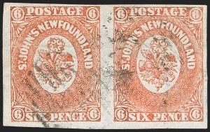 Sale Number 1214, Lot Number 1235, Canadian ProvincesNEWFOUNDLAND, 1860, 6p Orange (13; SG 14), NEWFOUNDLAND, 1860, 6p Orange (13; SG 14)