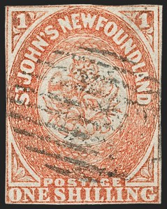 Sale Number 1214, Lot Number 1236, Canadian ProvincesNEWFOUNDLAND, 1860, 1sh Orange, Handmade Paper without Mesh (15; SG 15), NEWFOUNDLAND, 1860, 1sh Orange, Handmade Paper without Mesh (15; SG 15)