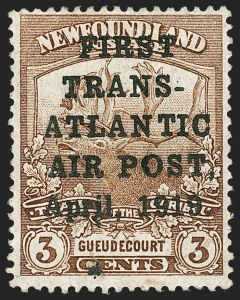 Sale Number 1214, Lot Number 1240, Canadian ProvincesNEWFOUNDLAND, 1919, 3c Red Brown, Hawker Air Post (C1; SG 142), NEWFOUNDLAND, 1919, 3c Red Brown, Hawker Air Post (C1; SG 142)