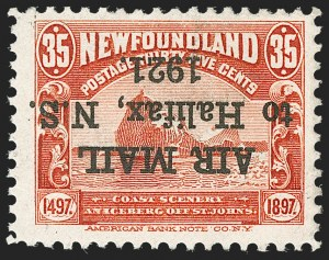 "Sale Number 1214, Lot Number 1241, Canadian ProvincesNEWFOUNDLAND, 1921, 35c Halifax Air Post, 1-1/2mm Spacing, With Period After ""1921"", Inverted Overprint (C3i; SG 148i), NEWFOUNDLAND, 1921, 35c Halifax Air Post, 1-1/2mm Spacing, With Period After ""1921"", Inverted Overprint (C3i; SG 148i)"