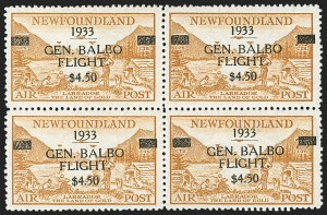 Sale Number 1214, Lot Number 1242, Canadian ProvincesNEWFOUNDLAND, 1933, $4.50 Balbo Air Post (C18), NEWFOUNDLAND, 1933, $4.50 Balbo Air Post (C18)