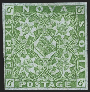 Sale Number 1214, Lot Number 1247, Canadian ProvincesNOVA SCOTIA, 1851, 6p Yellow Green (4; SG 5), NOVA SCOTIA, 1851, 6p Yellow Green (4; SG 5)