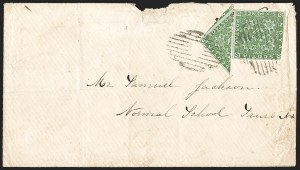 Sale Number 1214, Lot Number 1248, Canadian ProvincesNOVA SCOTIA, 1851, 6p Yellow Green, Diagonal Half Used as 3c (4a; SG 5a), NOVA SCOTIA, 1851, 6p Yellow Green, Diagonal Half Used as 3c (4a; SG 5a)