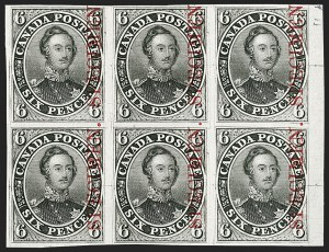 "Sale Number 1214, Lot Number 1250, Canada thru 1898 Jubilee IssueCANADA, 1851, 6p Dark Gray Trial Color Proof on India, with Vertical Carmine ""Specimen"" (Unitrade 2TCvii), CANADA, 1851, 6p Dark Gray Trial Color Proof on India, with Vertical Carmine ""Specimen"" (Unitrade 2TCvii)"