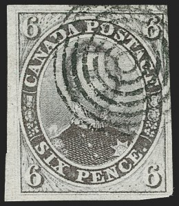 Sale Number 1214, Lot Number 1254, Canada thru 1898 Jubilee IssueCANADA, 1851, 6p Grayish Purple, Laid Paper (2b; SG 3), CANADA, 1851, 6p Grayish Purple, Laid Paper (2b; SG 3)
