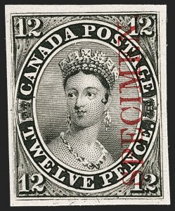 "Sale Number 1214, Lot Number 1256, Canada thru 1898 Jubilee IssueCANADA, 1851, 12p Black, Plate Proof on India, Vertical Carmine ""Specimen"" Overprint (Unitrade 3Pi), CANADA, 1851, 12p Black, Plate Proof on India, Vertical Carmine ""Specimen"" Overprint (Unitrade 3Pi)"