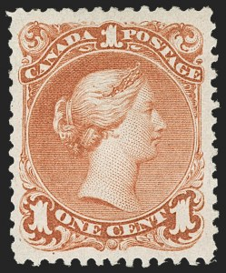 Sale Number 1214, Lot Number 1258, Canada thru 1898 Jubilee IssueCANADA, 1868, 1c Brown Red (22; SG 55), CANADA, 1868, 1c Brown Red (22; SG 55)