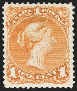 Sale Number 1214, Lot Number 1259, Canada thru 1898 Jubilee IssueCANADA, 1868, 1c Deep Orange, First Printing (23a; SG 56), CANADA, 1868, 1c Deep Orange, First Printing (23a; SG 56)