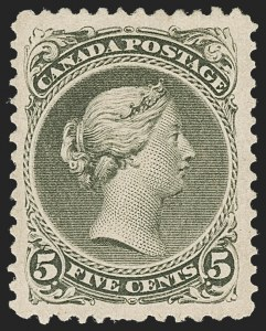Sale Number 1214, Lot Number 1260, Canada thru 1898 Jubilee IssueCANADA, 1875, 5c Olive Green, Perf 11-1/2 x 12 (26; SG 63), CANADA, 1875, 5c Olive Green, Perf 11-1/2 x 12 (26; SG 63)