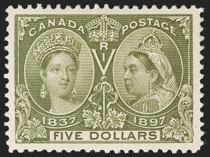 Sale Number 1214, Lot Number 1270, Canada thru 1898 Jubilee IssueCANADA, 1897, $5.00 Jubilee (65), CANADA, 1897, $5.00 Jubilee (65)