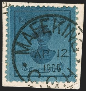 Sale Number 1214, Lot Number 1285, Cape of Good Hope thru CeylonCAPE OF GOOD HOPE, Mafeking, 1900, 3p Blue on Blue, Baden-Powell (179; SG 20), CAPE OF GOOD HOPE, Mafeking, 1900, 3p Blue on Blue, Baden-Powell (179; SG 20)
