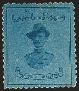 Sale Number 1214, Lot Number 1286, Cape of Good Hope thru CeylonCAPE OF GOOD HOPE, Mafeking, 1900, 3p Pale Blue on Blue, Baden-Powell, Large Format (180; SG 21), CAPE OF GOOD HOPE, Mafeking, 1900, 3p Pale Blue on Blue, Baden-Powell, Large Format (180; SG 21)