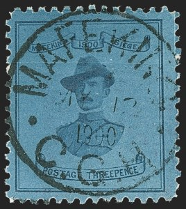 Sale Number 1214, Lot Number 1287, Cape of Good Hope thru CeylonCAPE OF GOOD HOPE, MAFEKING, 1900, 3p Blue on Blue, Baden-Powell, Large Format (180; SG 21), CAPE OF GOOD HOPE, MAFEKING, 1900, 3p Blue on Blue, Baden-Powell, Large Format (180; SG 21)