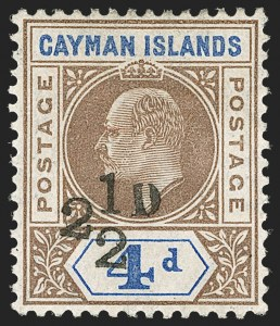 Sale Number 1214, Lot Number 1288, Cape of Good Hope thru CeylonCAYMAN ISLANDS, 1908, 2-1/2p on 4p Brown & Blue, Provisional Surcharge (20; SG 35), CAYMAN ISLANDS, 1908, 2-1/2p on 4p Brown & Blue, Provisional Surcharge (20; SG 35)